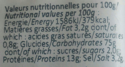 Crackers Olive & Basilic - Informations nutritionnelles