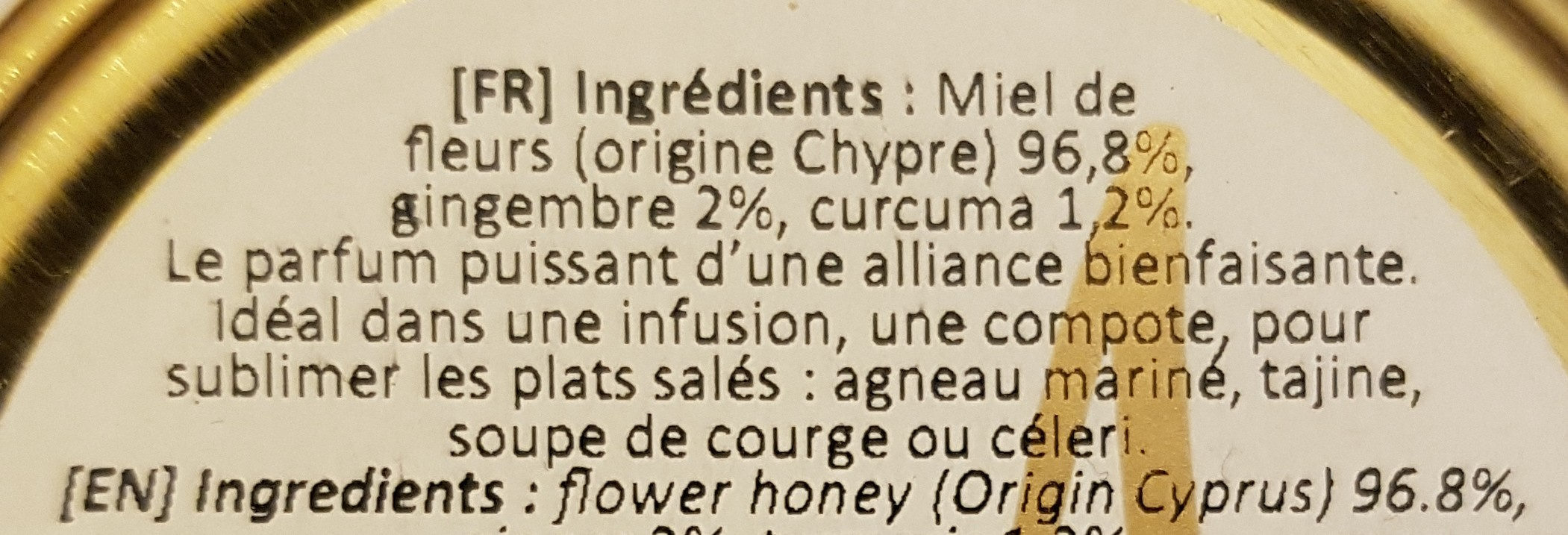 Miel curcuma gingembre - Ingrediënten - fr