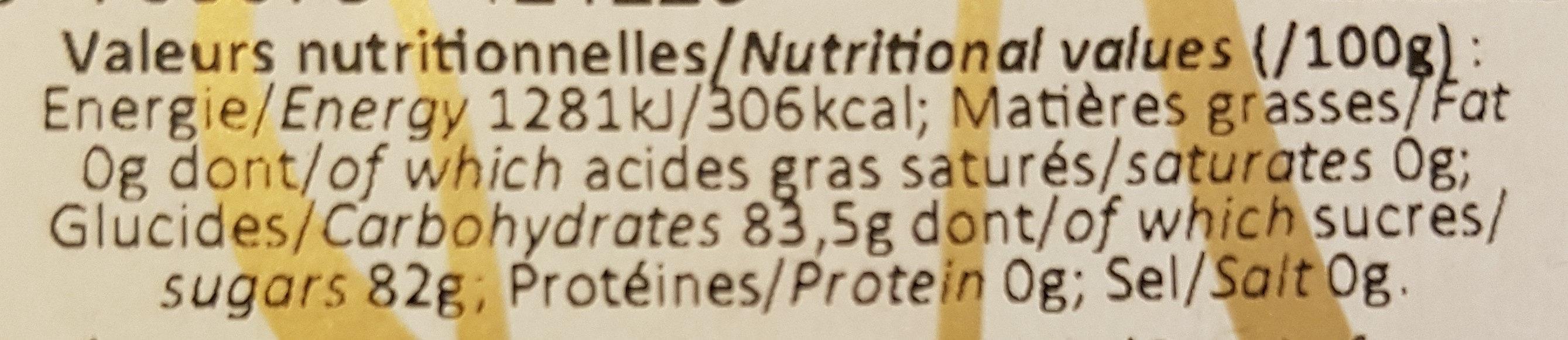 Miel curcuma gingembre - Voedingswaarden - fr