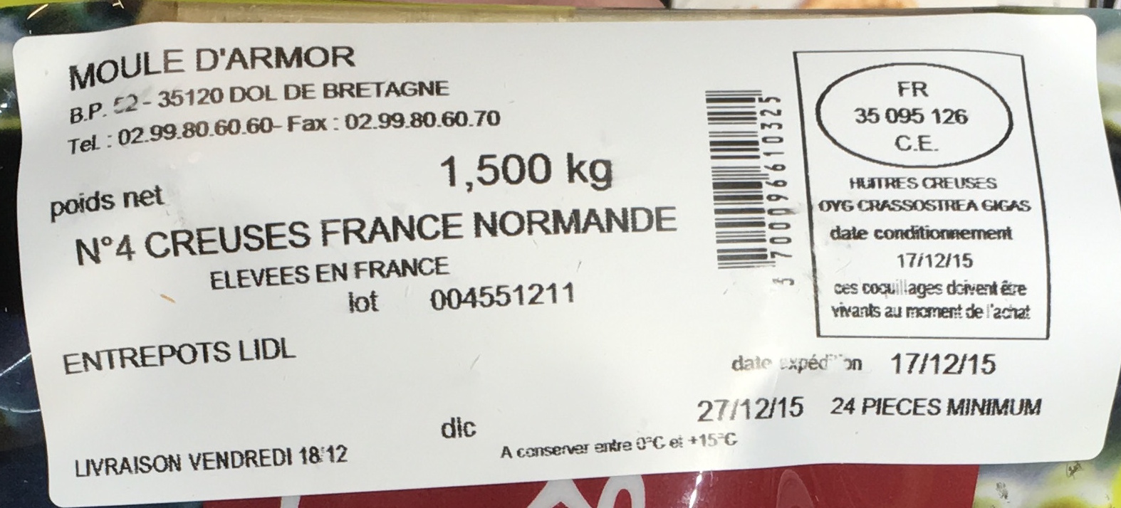 Huîtres de Normandie - Ingredients