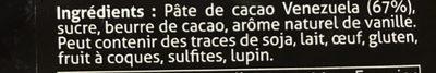 Chocolat de couverture noir - Ingredients