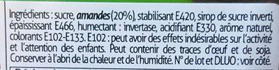 Pâte d'amande vert pomme - Ingrédients