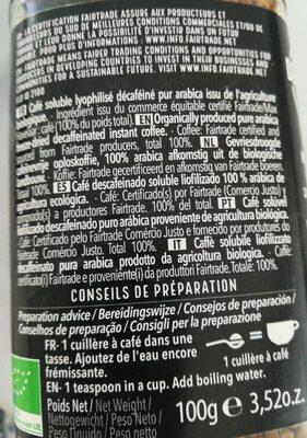 Décaféiné - Informations nutritionnelles - fr