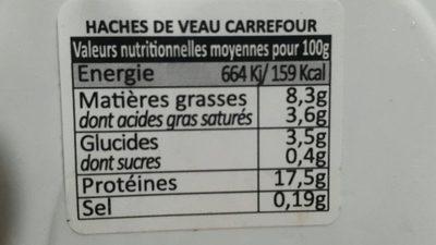 Haché de veau - Informations nutritionnelles