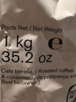 L'Arabica Café en grains Rond et savoureux. Intensité 5. - Ingrediënten