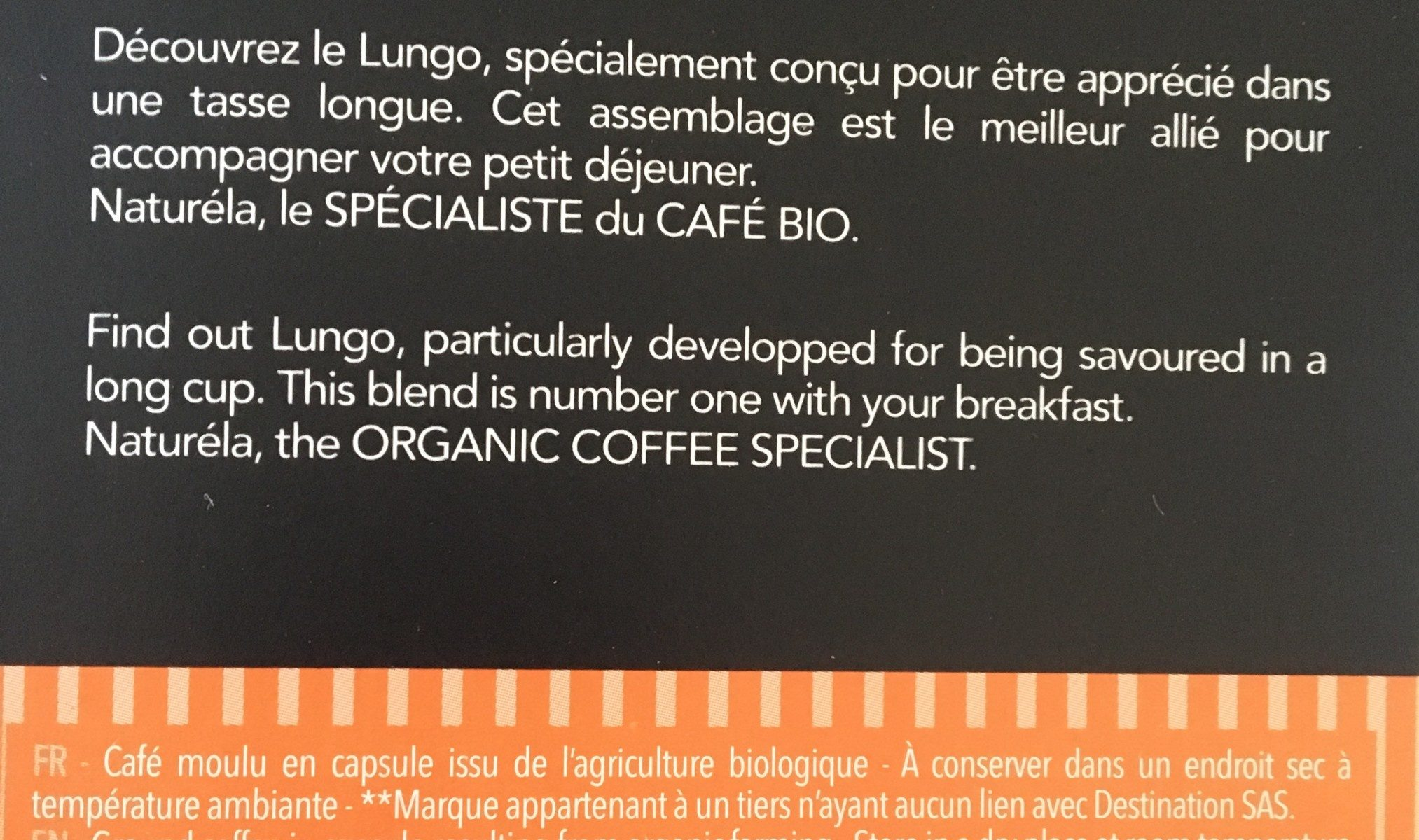 Capsules biodégradables Biospresso Lungo - Ingrediënten - fr