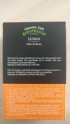 Capsules biodégradables Biospresso Lungo - Voedingswaarden - fr