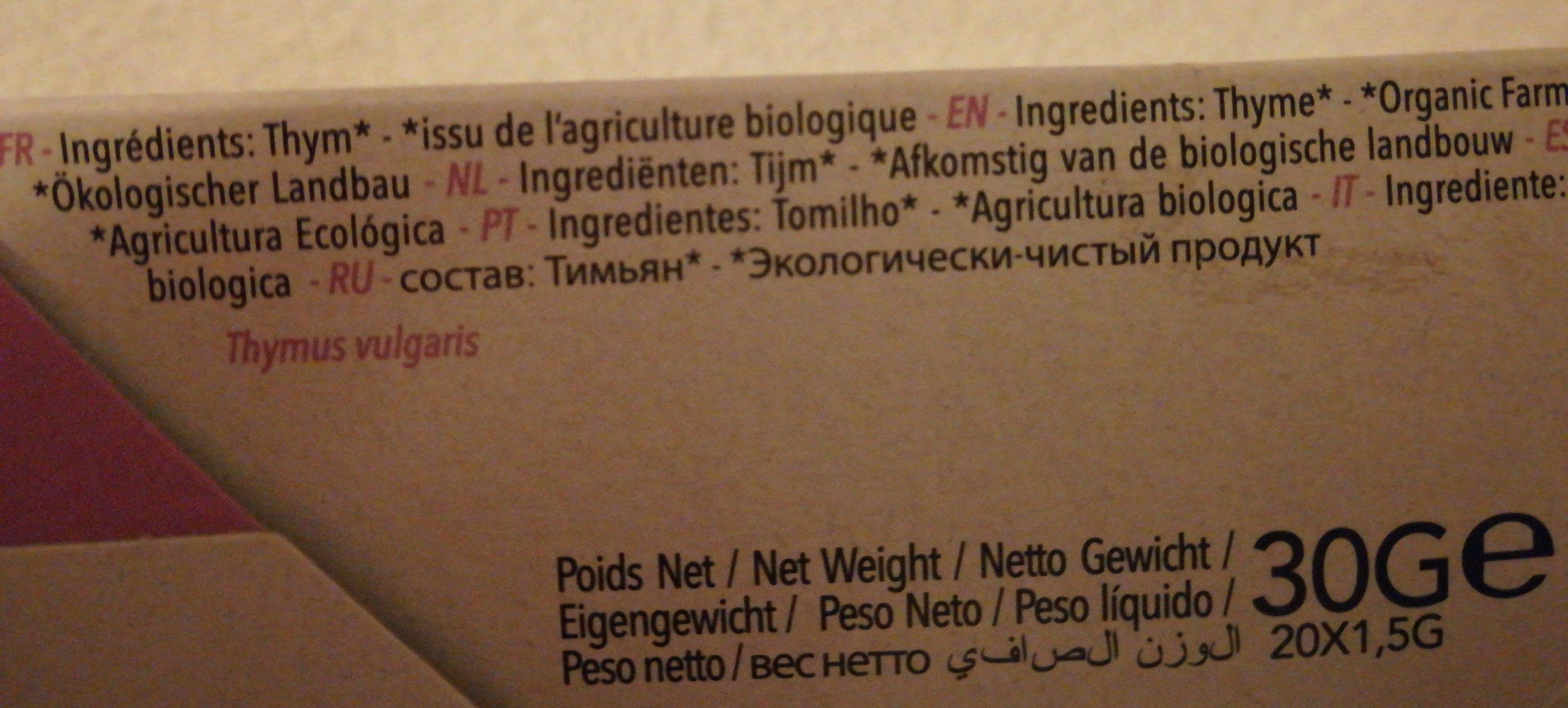 Tisane Bio Thym - Ingrediënten - fr
