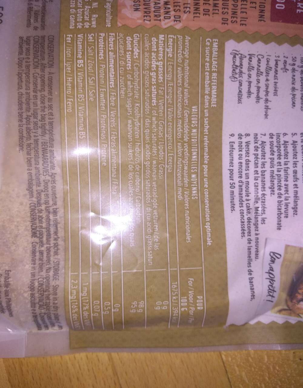 Sucre complet Muscovado - Nutrition facts - fr