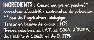 Poudre de cacao maigre - المكونات - fr