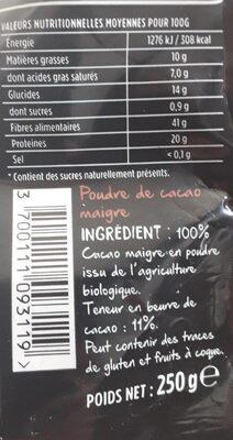 Poudre de cacao maigre - Informations nutritionnelles - fr
