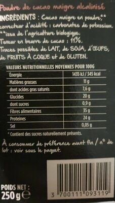 Pur cacao - Voedingswaarden