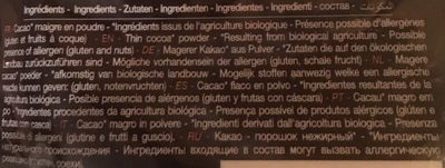 Poudre 100% cacao maigre - Ingredientes - fr