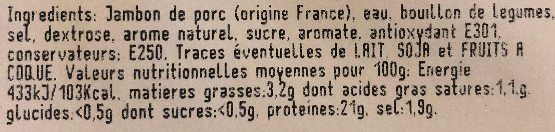 Jambon cuit supérieur au bouillon de légumes - Ingrédients - fr
