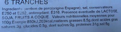 Jambon de pays espagne - Ingrédients - fr
