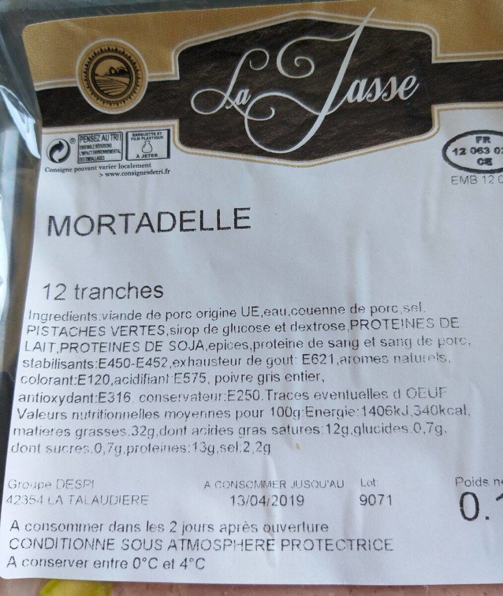 Mortadelle - Ingrédients