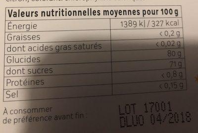 Pates de fruits - Informations nutritionnelles - fr