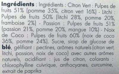 Pâtes de Fruits Exotiques - Ingrédients