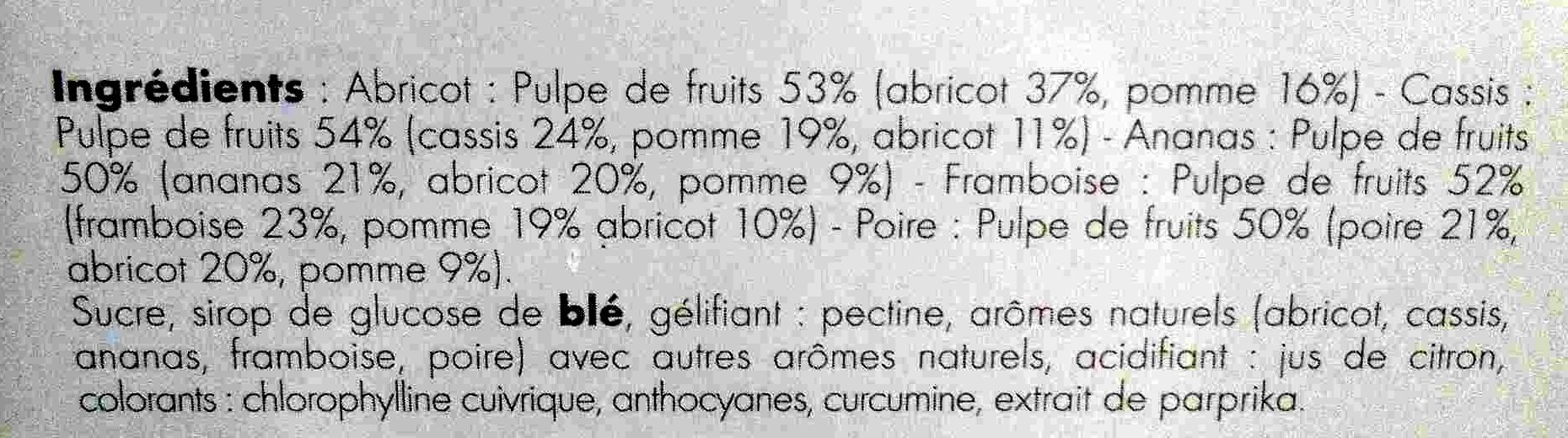 Formes de fruits - Ingredients - fr