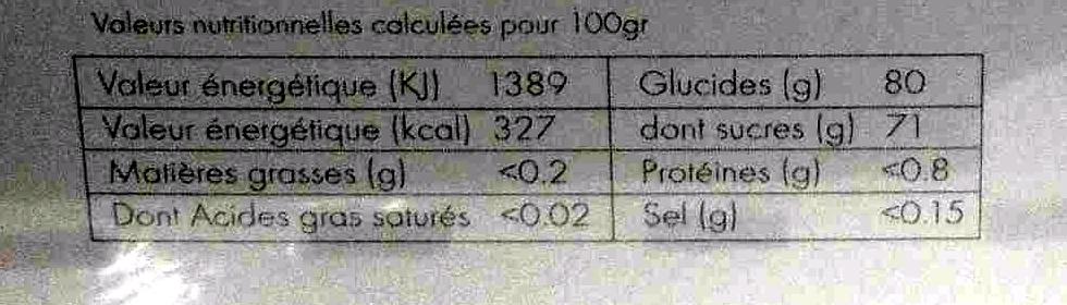 Formes de fruits - Nutrition facts - fr