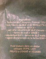 Baguette Millavoise - Ingrédients