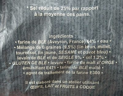 La Millavoise aux 6 graines - Ingrédients - fr