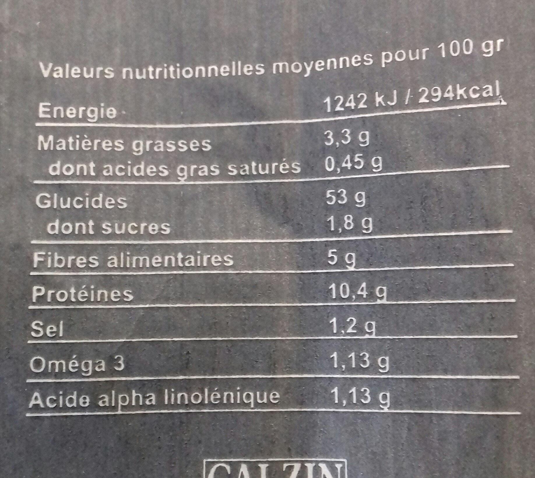 La Millavoise aux 6 graines - Informations nutritionnelles - fr
