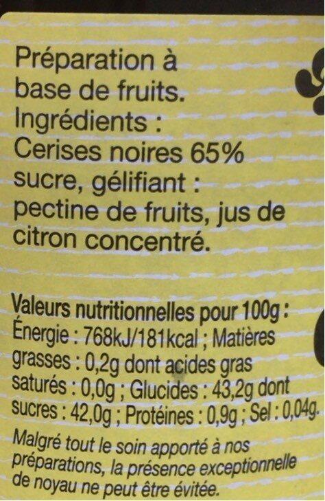 Confirure cerise noire - Nutrition facts - fr