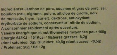 Jambon cuit supérieur - Ingrédients