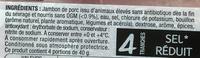 Le Jambon bien élevé (-25% de sel) - Ingrédients