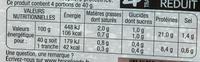 Le Jambon bien élevé (-25% de sel) - Informations nutritionnelles