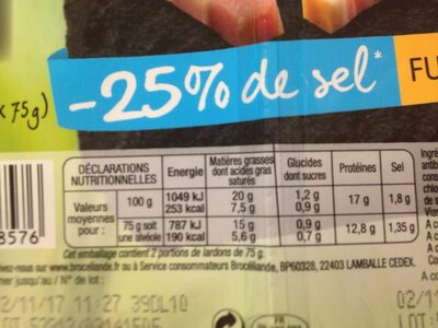 Les lardons bien eleves -25% de sel fumés - Nutrition facts