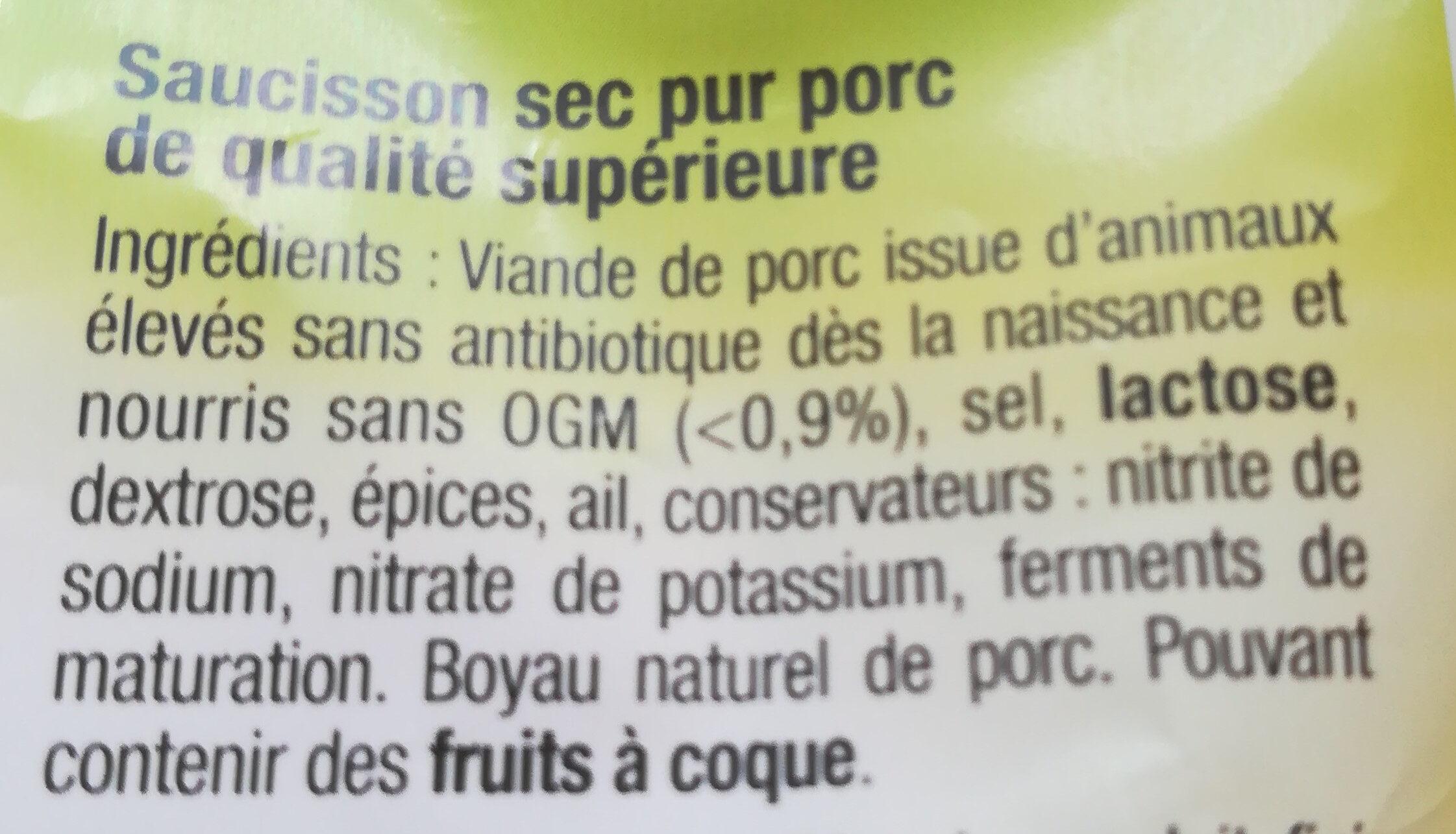 Saucisson sec - Ingredients