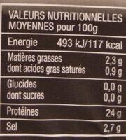 Bacon - Información nutricional - fr