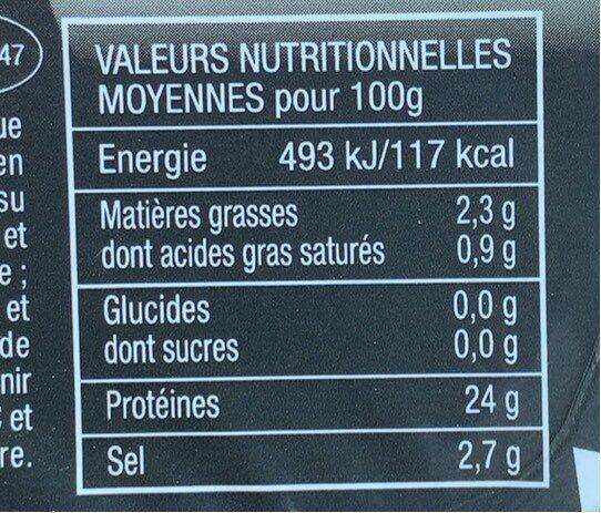 Bacon - Informació nutricional - fr