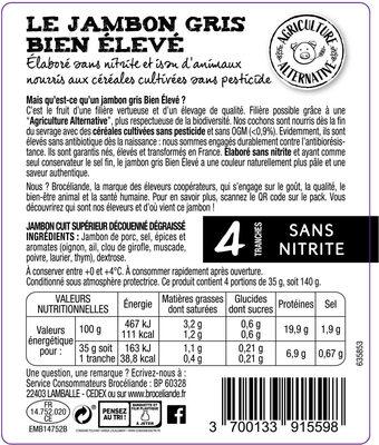 Le jambon gris Bien Élevé découenné dégraissé - Ingredients - fr