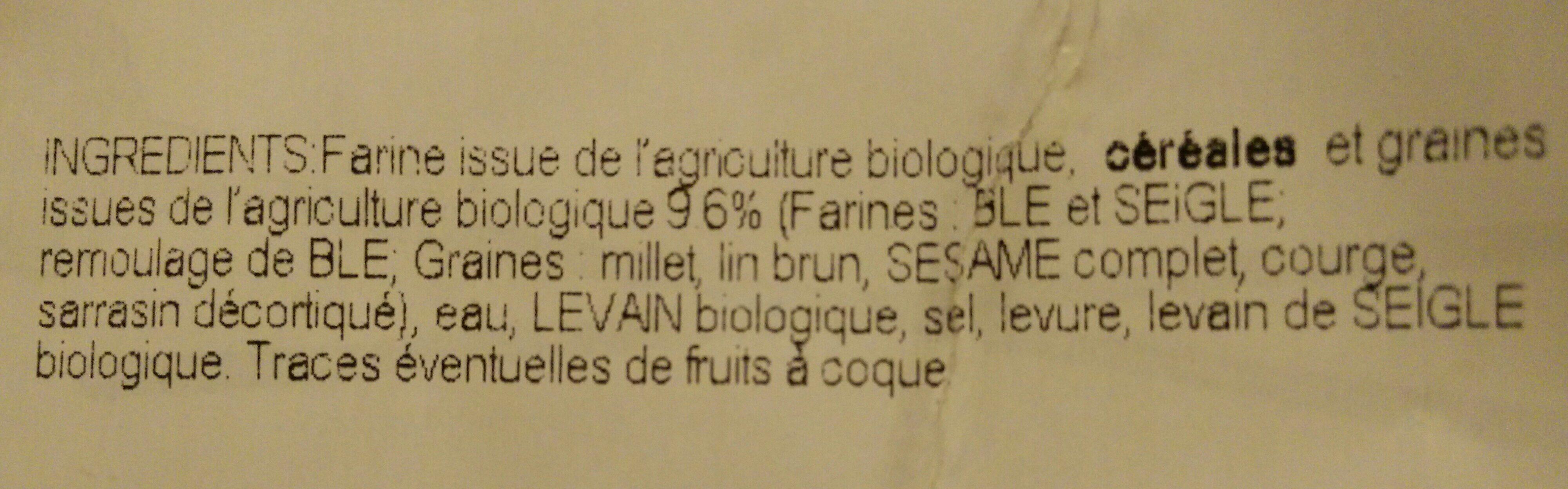 Pavé bio céréales - Ingrédients - fr