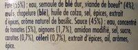 Ravioli viande boeuf halal - Inhaltsstoffe - fr