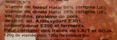 Oriental viandes chorizo 30 tranches - Ingrédients - fr