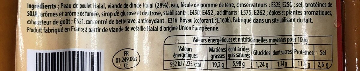 saucisse de volaille - Ingredients - fr