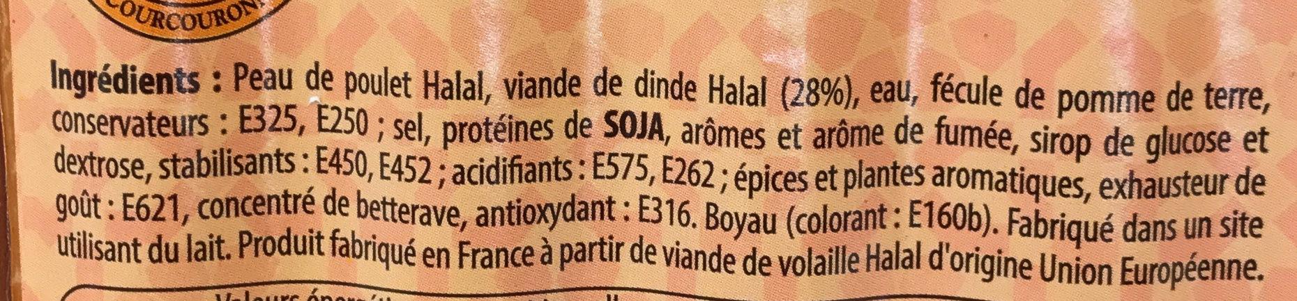 Saucisses de volaille Halal - Ingrédients
