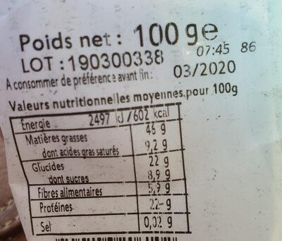 Noix de Cajou Grillées Bio - Informations nutritionnelles - fr