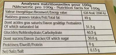 Java Indonésie - Nutrition facts - fr