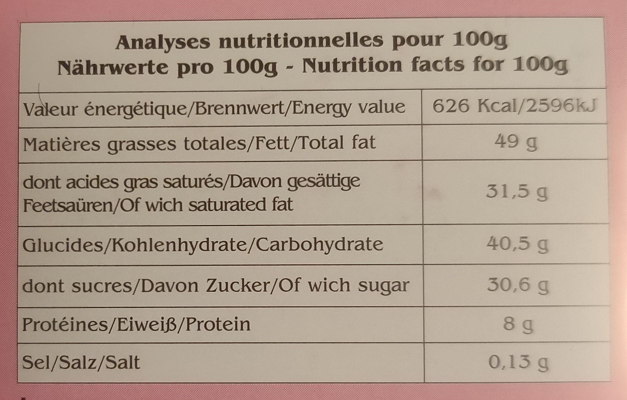 Morenita - Informations nutritionnelles