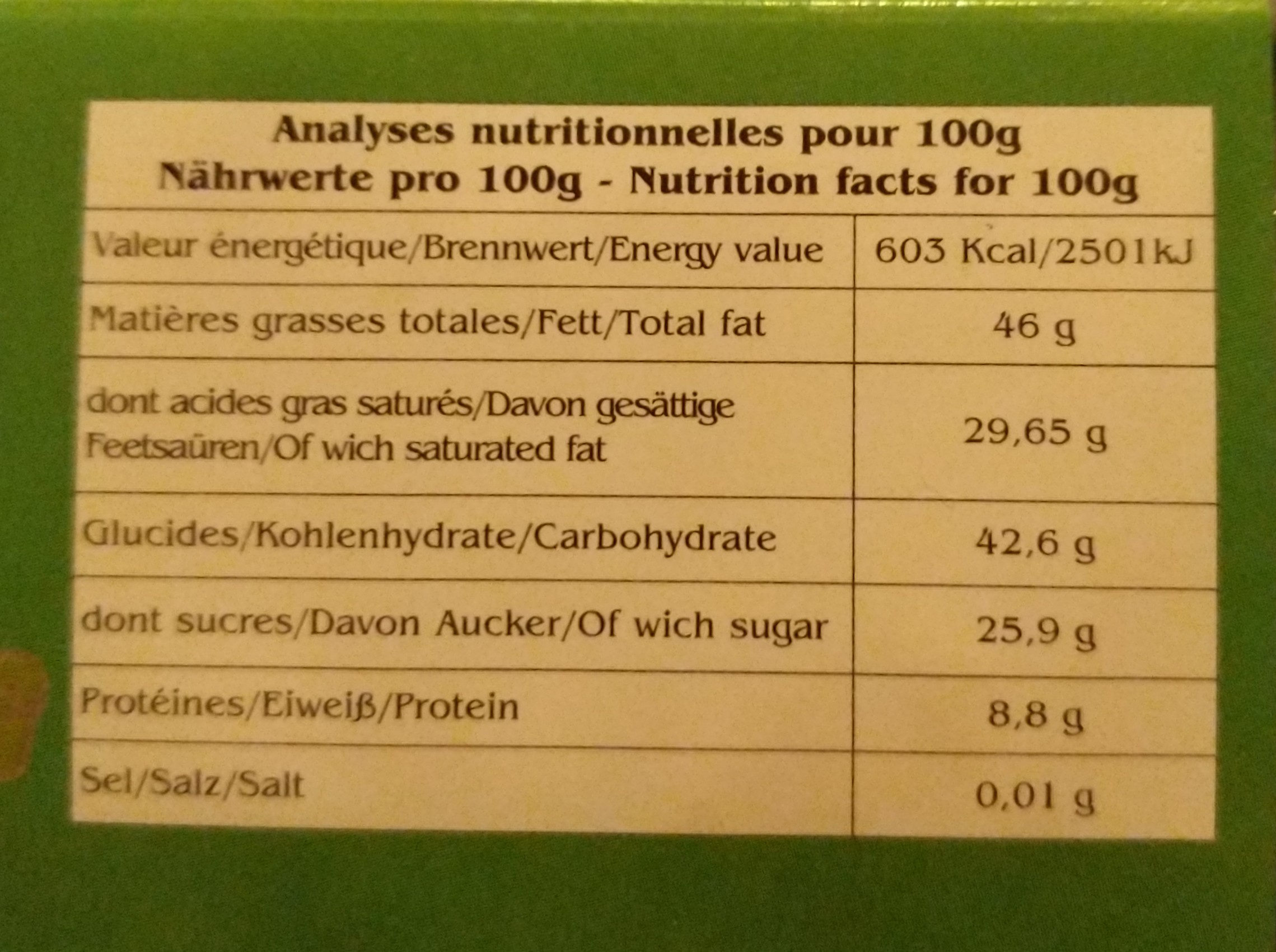 Cacao Cusco - Informations nutritionnelles - fr