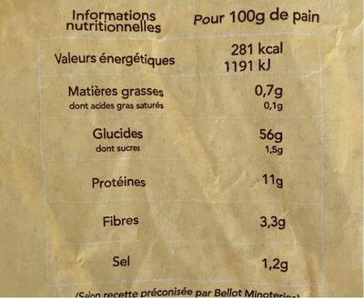Baguette - Valori nutrizionali - fr
