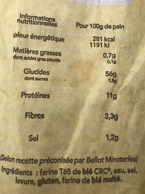 Baguette Marianne Tradition Française - Valori nutrizionali - fr