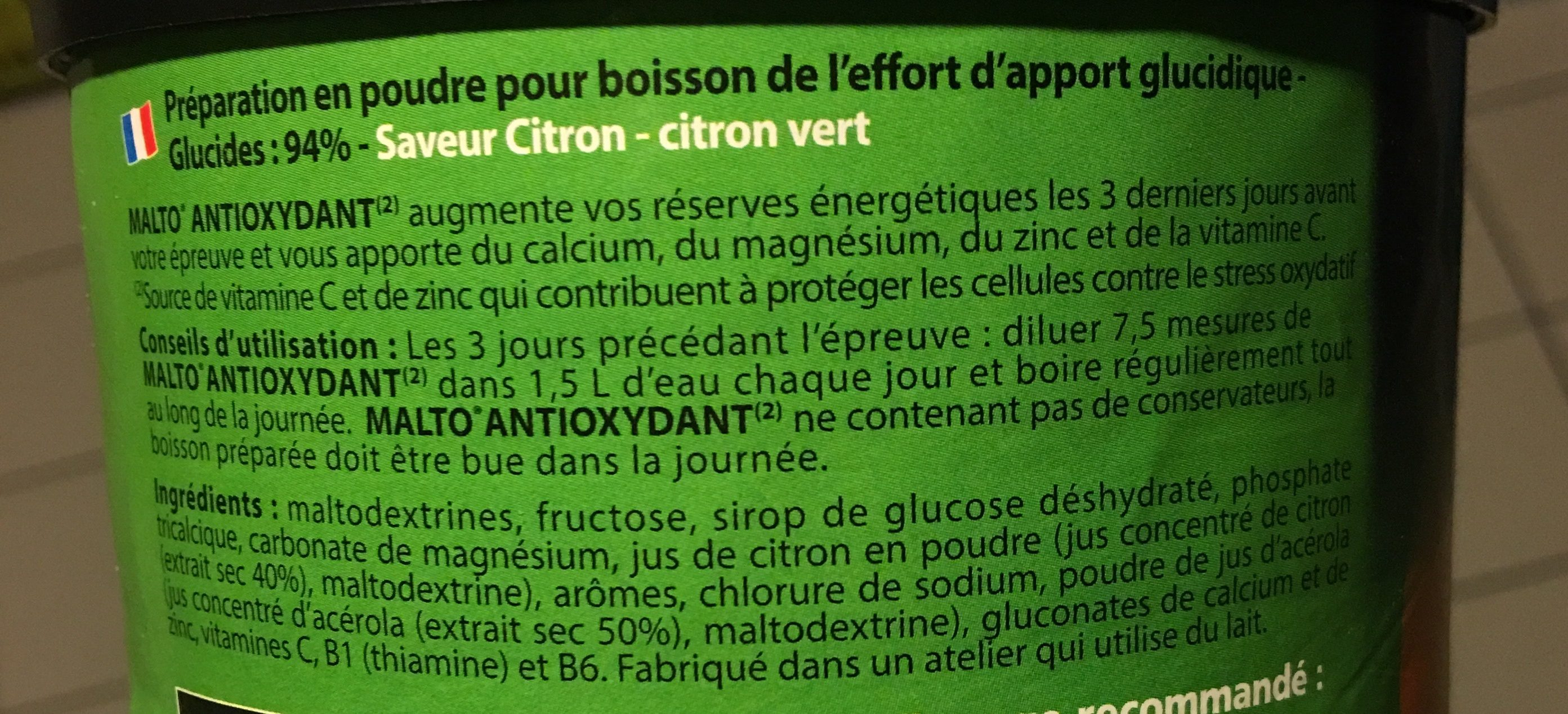 Malto Overtim's Antioxydant-citron - Ingrediënten