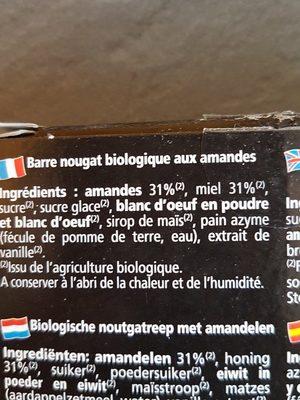 Barre nougat bio - Ingredients