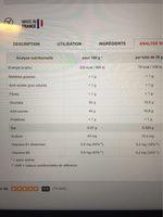 Gel Energetique Coup De Fouet Liquide - Informations nutritionnelles